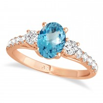 Oval Cut Blue Topaz & Diamond Engagement Ring 18k Rose Gold (1.40ct)