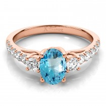 Oval Cut Blue Topaz & Diamond Engagement Ring 18k Rose Gold (1.40ct)