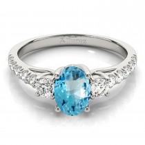 Oval Cut Blue Topaz & Diamond Engagement Ring Palladium (1.40ct)