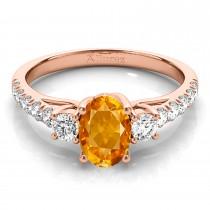 Oval Cut Citrine & Diamond Engagement Ring 14k Rose Gold (1.40ct)