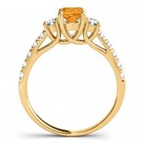 Oval Cut Citrine & Diamond Engagement Ring 14k Yellow Gold (1.40ct)