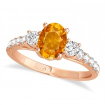 Oval Cut Citrine & Diamond Engagement Ring Setting 18k Rose Gold (1.15ct)