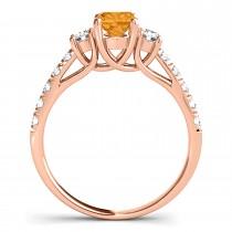 Oval Cut Citrine & Diamond Engagement Ring 18k Rose Gold (1.40ct)
