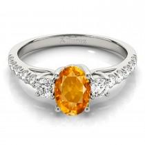 Oval Cut Citrine & Diamond Engagement Ring 18k White Gold (1.40ct)