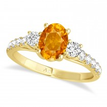 Oval Cut Citrine & Diamond Engagement Ring Setting 18k Yellow Gold (1.15ct)