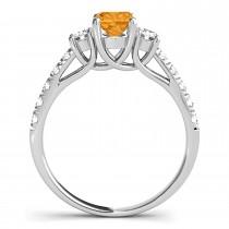 Oval Cut Citrine & Diamond Engagement Ring Platinum (1.40ct)