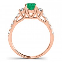 Oval Cut Emerald & Diamond Engagement Ring 14k Rose Gold (1.40ct)