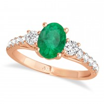 Oval Cut Emerald & Diamond Engagement Ring 18k Rose Gold (1.40ct)
