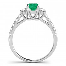 Oval Cut Emerald & Diamond Engagement Ring 18k White Gold (1.40ct)