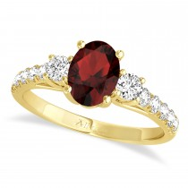 Oval Cut Garnet & Diamond Engagement Ring 14k Yellow Gold (1.40ct)