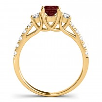 Oval Cut Garnet & Diamond Engagement Ring 14k Yellow Gold (1.40ct)
