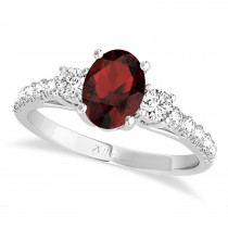 Oval Cut Garnet & Diamond Engagement Ring Setting 18k White Gold (1.15ct)