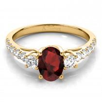 Oval Cut Garnet & Diamond Engagement Ring 18k Yellow Gold (1.40ct)