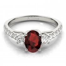Oval Cut Garnet & Diamond Engagement Ring Palladium (1.40ct)