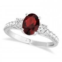 Oval Cut Garnet & Diamond Engagement Ring Platinum (1.40ct)
