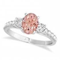 Oval Cut Morganite & Diamond Engagement Ring Setting 14k White Gold (1.15ct)