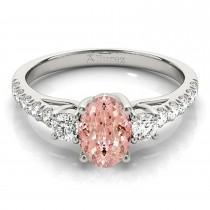 Oval Cut Morganite & Diamond Engagement Ring 14k White Gold (1.40ct)