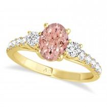 Oval Cut Morganite & Diamond Engagement Ring Setting 14k Yellow Gold (1.15ct)
