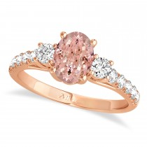 Oval Cut Morganite & Diamond Engagement Ring Setting 18k Rose Gold (1.15ct)