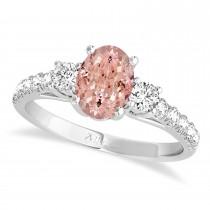 Oval Cut Morganite & Diamond Engagement Ring Setting 18k White Gold (1.15ct)