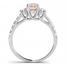Oval Cut Morganite & Diamond Engagement Ring 18k White Gold (1.40ct)