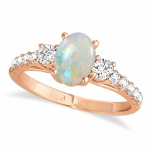 Oval Cut Opal & Diamond Engagement Ring Setting 14k Rose Gold (1.15ct)