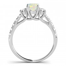 Oval Cut Opal & Diamond Engagement Ring 14k White Gold (1.40ct)