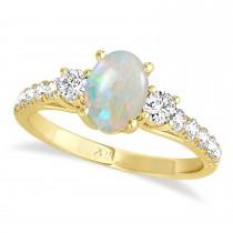 Oval Cut Opal & Diamond Engagement Ring Setting 14k Yellow Gold (1.15ct)