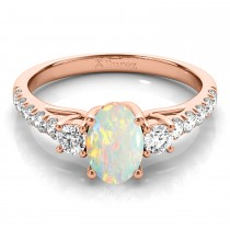 Oval Cut Opal & Diamond Engagement Ring 18k Rose Gold (1.40ct)
