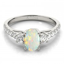 Oval Cut Opal & Diamond Engagement Ring 18k White Gold (1.40ct)