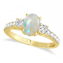 Oval Cut Opal & Diamond Engagement Ring Setting 18k Yellow Gold (1.15ct)