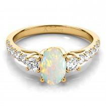 Oval Cut Opal & Diamond Engagement Ring 18k Yellow Gold (1.40ct)