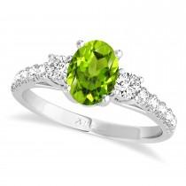 Oval Cut Peridot & Diamond Engagement Ring 14k White Gold (1.40ct)