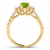 Oval Cut Peridot & Diamond Engagement Ring 14k Yellow Gold (1.40ct)