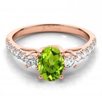 Oval Cut Peridot & Diamond Engagement Ring 18k Rose Gold (1.40ct)