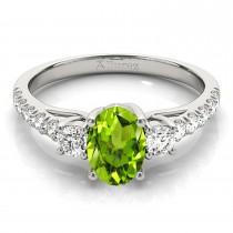 Oval Cut Peridot & Diamond Engagement Ring 18k White Gold (1.40ct)