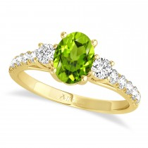 Oval Cut Peridot & Diamond Engagement Ring 18k Yellow Gold (1.40ct)