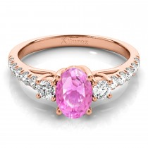 Oval Cut Pink Sapphire & Diamond Engagement Ring 14k Rose Gold (1.40ct)