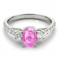 Oval Cut Pink Sapphire & Diamond Engagement Ring 14k White Gold (1.40ct)