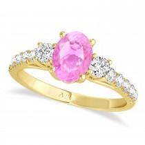 Oval Cut Pink Sapphire & Diamond Engagement Ring Setting 18k Yellow Gold (1.15ct)