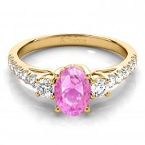Oval Cut Pink Sapphire & Diamond Engagement Ring 18k Yellow Gold (1.40ct)