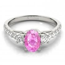 Oval Cut Pink Sapphire & Diamond Engagement Ring Palladium (1.40ct)