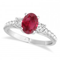 Oval Cut Ruby & Diamond Engagement Ring 14k White Gold (1.40ct)