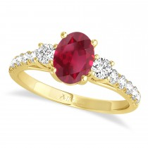 Oval Cut Ruby & Diamond Engagement Ring Setting 14k Yellow Gold (1.15ct)
