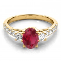 Oval Cut Ruby & Diamond Engagement Ring 14k Yellow Gold (1.40ct)