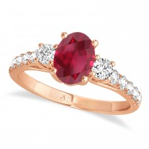 Oval Cut Ruby & Diamond Engagement Ring Setting 18k Rose Gold (1.15ct)