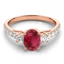 Oval Cut Ruby & Diamond Engagement Ring 18k Rose Gold (1.40ct)