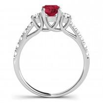 Oval Cut Ruby & Diamond Engagement Ring Palladium (1.40ct)