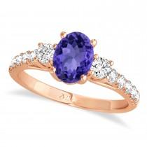 Oval Cut Tanzanite & Diamond Engagement Ring 14k Rose Gold (1.40ct)