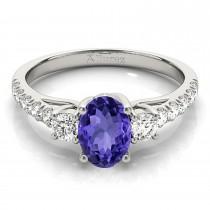 Oval Cut Tanzanite & Diamond Engagement Ring 18k White Gold (1.40ct)